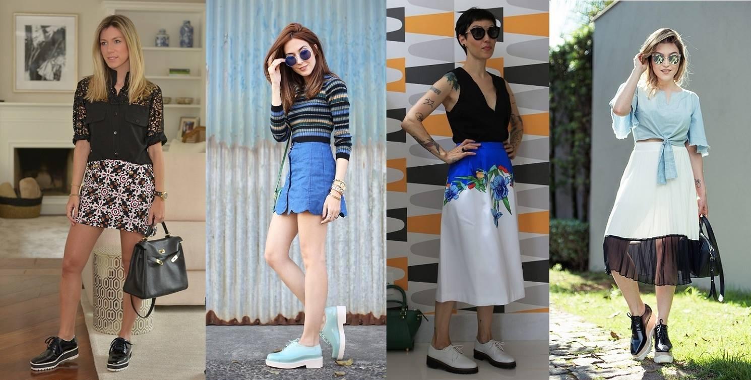 Legenda: Fotos dos blogs Glam 4 you, Fashion Coolture, Hoje vou assim e Chata de Galocha, respectivamente